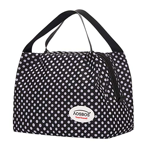 Kühltasche Klein Leicht Handtasche Isoliertasche zur Arbeit Schule Faltbar Wasserdicht Reißverschluss 8,5L Punkt Schwarz