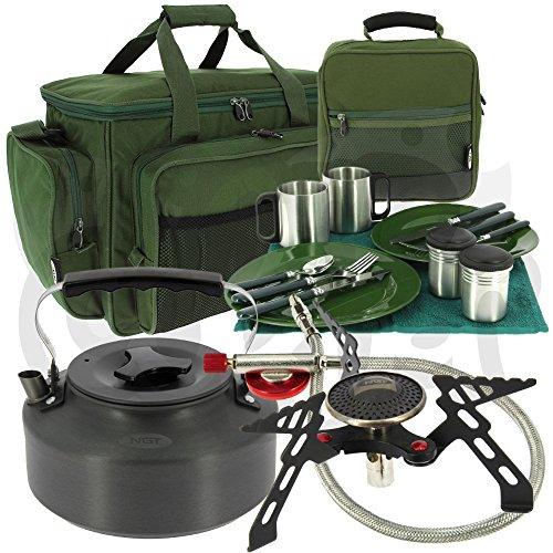 NGT Karpfen Angeln & Camping Besteck Kochen Set mit Gasherd, Wasserkocher + Angeltasche