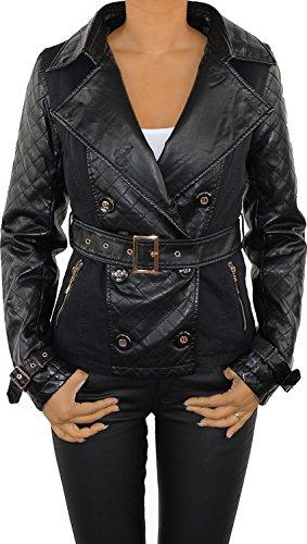 Damen Parka Lederjacke Kunstlederjacke Leder Jacke Damenjacke Jacket Bikerjacke Dopelreiher Beige Schwarz 8024-Schwarz S/36