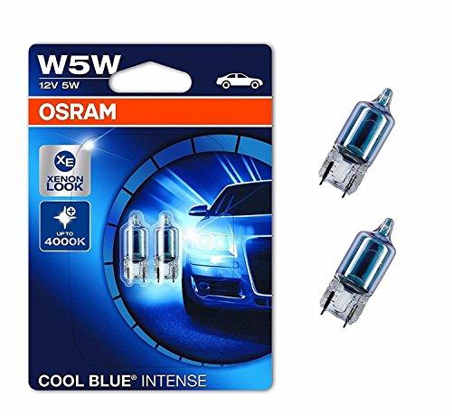 2x Osram Cool Blue Standlicht Lampen 12V 5Watt Fassung 2.1x9.5d Glassockellampen 2x W5W mit E Prüfzeichen