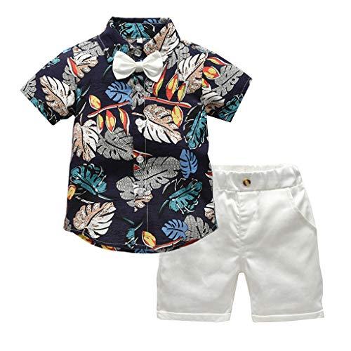 Xmiral Baby Boys Fliege Gedruckt Shirt & Einfarbig Shorts Gentleman Outfits Set Kleinkind Kid Party Hochzeit Kostüm Kleidung Set(Marine,2-3 Jahre)