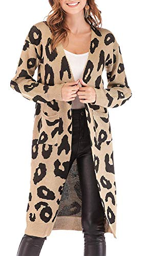 OrientalPort Cardigan Damen Lang Strickmantel Leopard Strickjacke Langarm Patchwork Pullover Mantel Casual Kimono Winter Warm Parkajacke Outwear-A Khaki-L