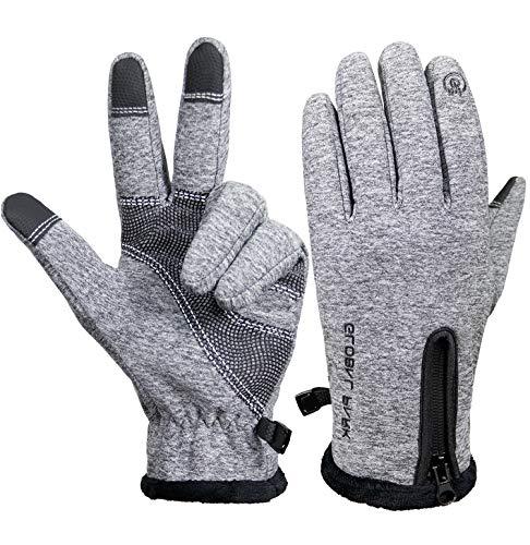 Winter Radfahren Handschuhe zum Männer Frauen Laufhandschuhe Fahrrad Touchscreen Warm Winddicht Wetterfest Isoliert Radfahren Vlies Beschichtung Draussen Wandern Fahren Sport Anti-Rutsch (grau, L)