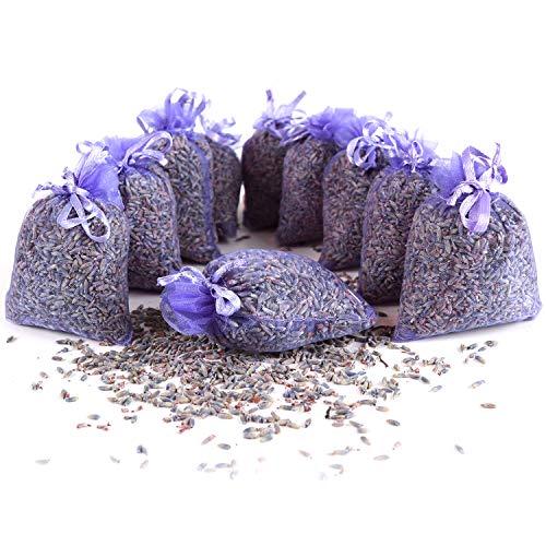 Quertee 10 x Lavendelsäckchen Duftsäckchen mit Lavendelblüten als Mottenschutz gegen Motten im Kleiderschrank mit französischen Lavendel zum Entspannen und Schlafen (10 x 10 g Lavendel)