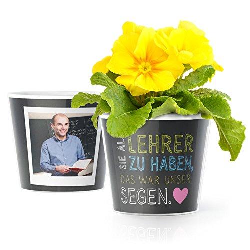 MyFacepot Lehrer Geschenk Blumentopf (ø16cm)   Zum Abschied oder Danke Sagen in der Grundschule mit Rahmen für Zwei Fotos (10x15cm)   Sie als Lehrer zu haben, war unser Segen.