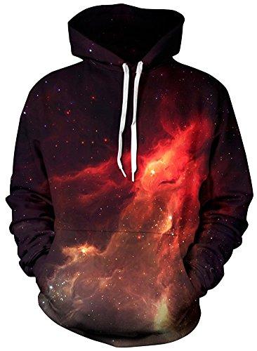 EUDOLAH Herren 3D Druck Sweatshirts Weihnachten mit Aufdruck Herbst Winter Hemd Langarm Top Jumper Shirt (Größe L/XL, Feuer)