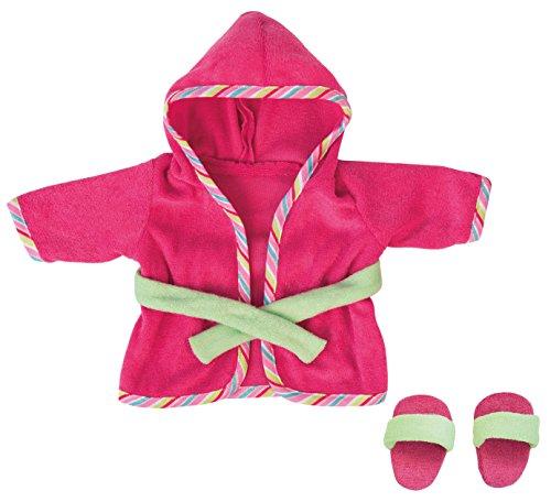 Bayer Design 83872AA Puppenkleidung, Bademantel mit Schlappen für Puppen Circa 36-38 cm, Puppenzubehör, rosa, grün