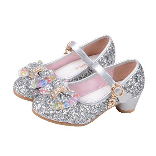 O&N Prinzessin Gelee Partei Absatz-Schuhe Sandalette Stöckelschuhe für Kinder(Size 37 EU) Silber