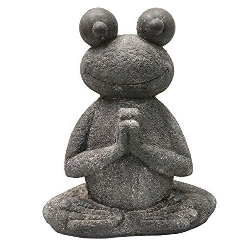 SVITA Yoga Frosch Garten-Figur Feng Shui Statue Meditation Reiki Outdoor Skulptur (51 cm, Lotus 1)