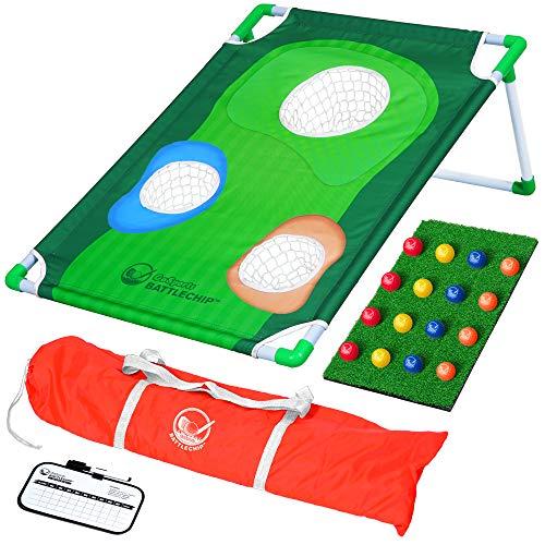 GoSports BattleChip Backyard Golf Cornhole Spiel   inkl. Chipping Target, 16 Schaumstoffbälle, Schlagmatte und Tragetasche, Multi