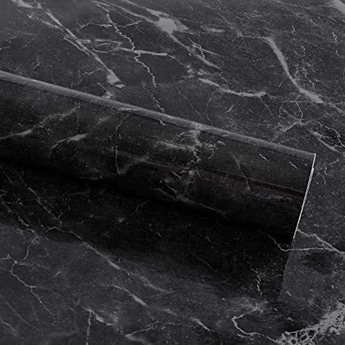 Hivexagon Wasserdichte Küche Marmor Tapete Tisch Tür Aufkleber Selbstklebende Folie Peel-Stick Tapete Glanz Arbeitsplatten Regal Liner Aufkleber Möbel Aufkleber 60 * 500CM-schwarz