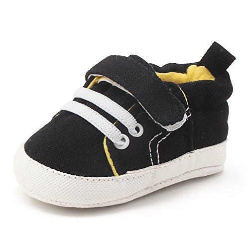 DELEBAO Babyschuhe Turnschuhe Leinwand Sneaker Weiche Rutschfester Sohle Canvas Baby Schuhe Kleinkind Junge Mädchen (Schwarz,12-18 Monate)