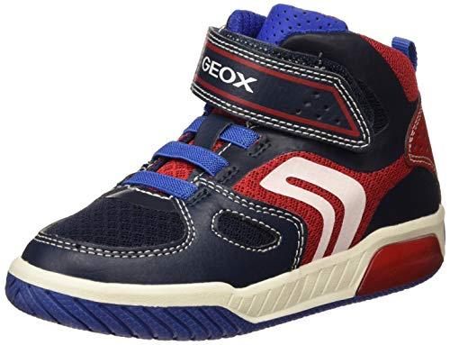Geox Jungen J INEK BOY A Hohe Sneaker Blau (Navy/Red C0735) 35 EU
