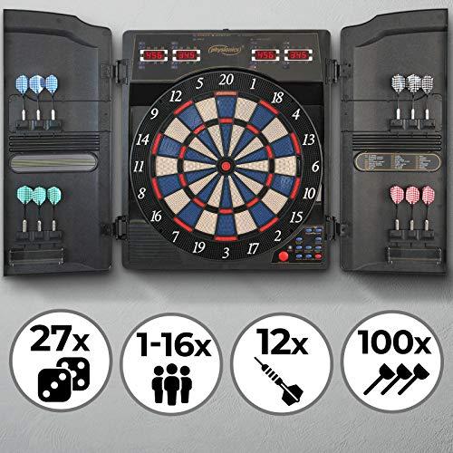 Physionics Elektronische Dartscheibe - 27 Spiele mit 159 Spieloptionen, 12 Soft Pfeile und 100 Ersatzspitzen, LED Anzeige - Profi Dartspiel, Dartboard, Dartautomat