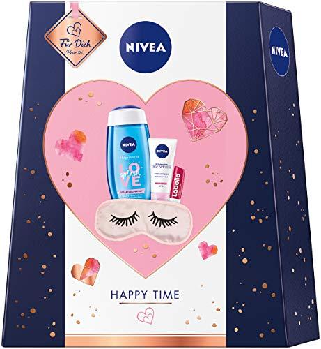 NIVEA Happy Time Geschenkset, Set mit Schlafmaske, Tagespflege, Pflegedusche und Labello, verwöhnendes Pflegeset für eine entspannte Auszeit