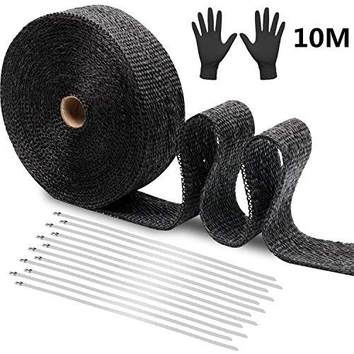 10M Hitzeschutzband Basaltfaser Auspuffband, wärmebeständiger, verbrühung hemmender, flammhemmender schwarzer Glasfaser-Stoffgürtel, Auto-Abgaswärmebandrolle