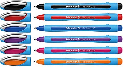 Schneider Slider Memo XB Kugelschreiber (mit Kappe, Strichstärke: XB) 6er Etui sortiert