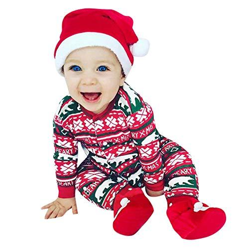 INLLADDY Baby Weihnachten Kleidung Neugeborene Mädchen Jungen Strampler Jumpsuit Rot 80