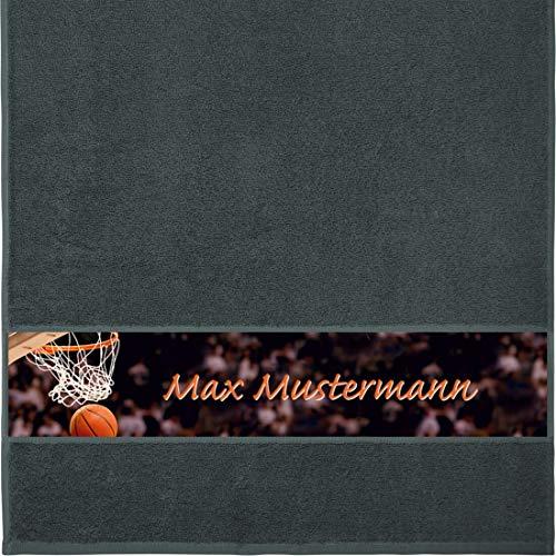 Handtuch mit Namen - personalisiert - Motiv Sport - Basketball - viele Farben & Motive - Dusch-Handtuch - anthrazit - Größe 50x100 cm - persönliches Geschenk mit Wunsch-Motiv und Wunsch-Name