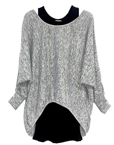 Emma & Giovanni - Damen Oversize Oberteile Tshirt/Pullover (2 Stück) / Made In Italy, XL-XXL, Grau