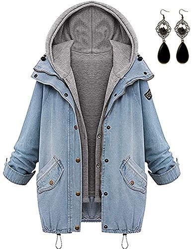 Sitengle Damen Jeansjacke Denim Winterjacke Blazer Langarmshirt 2 in 1 Kurzjacke Freizeit Blusen Oberteil Strickjacke Jäckchen Tops Mäntel Outwear Mit Zipper Blau 2XL/EU40-42