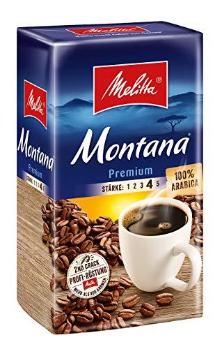 Melitta Gemahlener Röstkaffee, Filterkaffee, 100% Arabica, kräftig-feiner Geschmack, Stärke 4, Montana Premium, 2 x 500 g