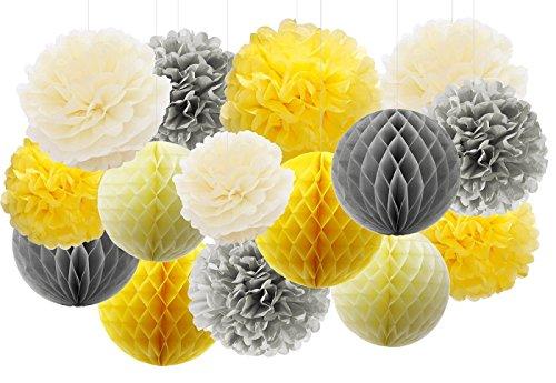 Furuix gelb grau Elefant Baby Shower Dekorationen Seidenpapier Pom Pom Seidenpapier Waben Balls Papierlaternen für Bridal Shower Geburtstag Dekorationen / Sie sind mein Sonnenschein Party Decor