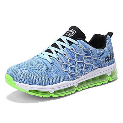 frysen Herren Damen Sportschuhe Laufschuhe mit Luftpolster Turnschuhe Profilsohle Sneakers Leichte Schuhe 1643 Blue 38
