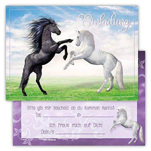 Einladungskarten für Kindergeburtstage für Jungen oder Mädchen (Pferde, 12 Stück im Kartenset)