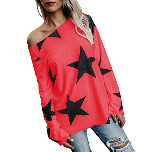 ESAILQ Bekleidung Damen körper bluse nicht zutreffend round kragen langarm-bluse rot 4xl