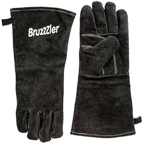 Bruzzzler Grillhandschuhe feuerfest / Grill Lederhandschuhe, Grill Handschuhe, lang, mit Lederschlaufe, Thermo Isolierung, hitzebeständiges Obermaterial, in Universalgröße, schwarz mit Logo