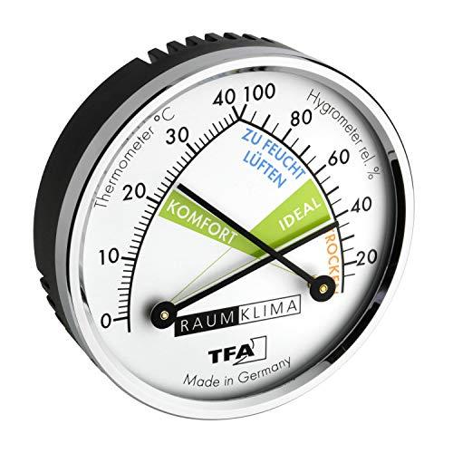 TFA Dostmann Thermo Analoges Thermometer Hygrometer mit Metallring, Luftfeuchtigkeitsmessgerät, Mehrfarbig, (L) 71 x (B) 23 x (H) 71 mm