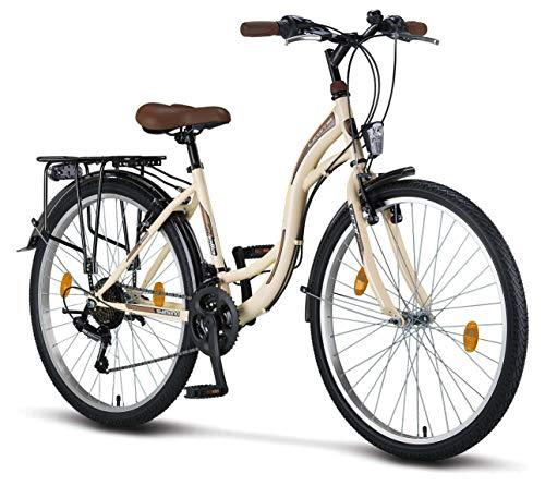 Licorne Bike Stella Premium City Bike in 26 Zoll - Fahrrad für Mädchen, Jungen, Herren und Damen - Shimano 21 Gang-Schaltung - Hollandfahrrad - Beige