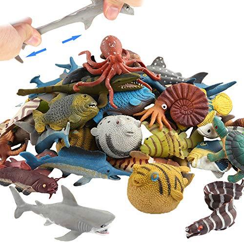Meerestier, 18 Packungen Badespielzeug-Set aus Gummi, lebensmittelgeeignetes Material TPR, super dehnbar, einige Sorten können Farben ändern, weiche schwimmende Badespielzeuge, lebensechter Hai