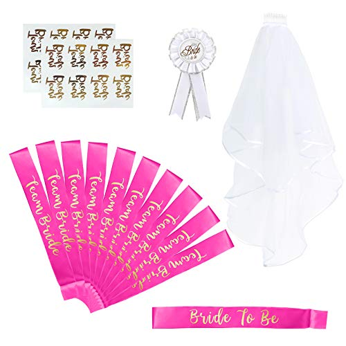 Naler 15-teilig JGA Set Pink Gruppenset mit Schärpen Schleier Bottons Temporäre Tattoos für Junggesellinnenabschied Hen Party