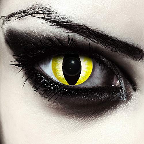 Gelbe farbige Katzen Kontaktlinsen ohne Stärke für Halloween Karneval Katzenaugen Farblinsen in gelb Design: Yellowstar Cateye