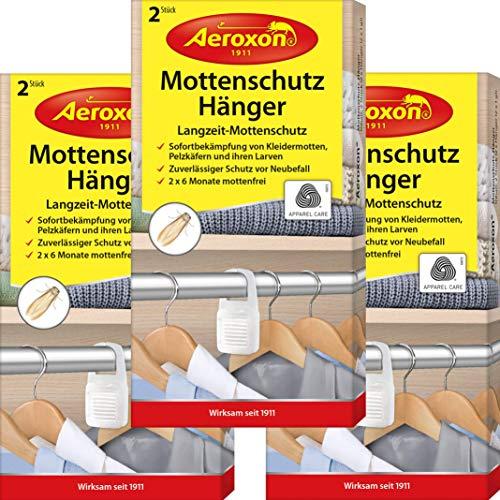 Aeroxon Mottenschutz-Hänger - 3x2 Stück - Verlässliche, starke und schnelle Bekämpfung von Kleidermotten - Mottenschutz für Kleiderschrank