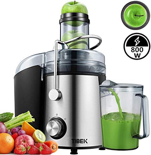 Entsafter für Obst und Gemüse aus Edelstahl, große 95 mm Einfüllöffnung inkl. Reinigungsbürste und Saftbehälter 3 Geschwindigkeitsstufen, Saftpresse Juicer, Silber