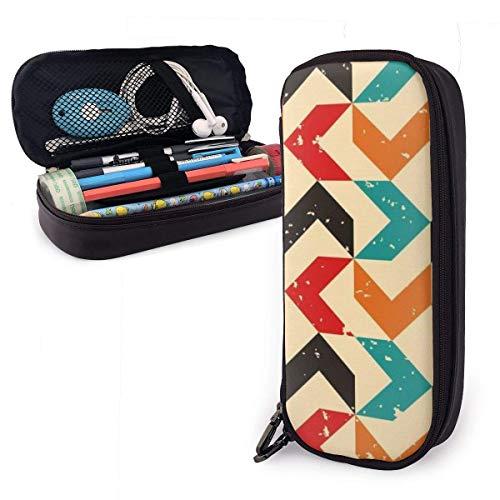 Buntes Federmäppchen aus farbigem Bumerang-PU, große Stifttasche, langlebige Studenten-Schreibwarenorganisatoren 1,5 Zoll x 3,5 x 8 Zoll