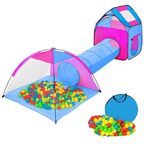 tectake Iglu Kinderspielzelt Spielhaus Kinderzelt mit Krabbeltunnel + 200 Bälle + Tasche - diverse Farben - (Pink-Blau   Nr. 401233)