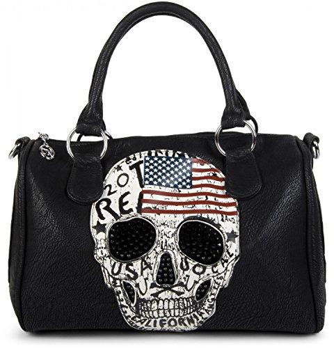 styleBREAKER Bowling Bag mit USA Design Totenkopf und schwarzem Strass, Handtasche, Damen 02012051, - Schwarz,