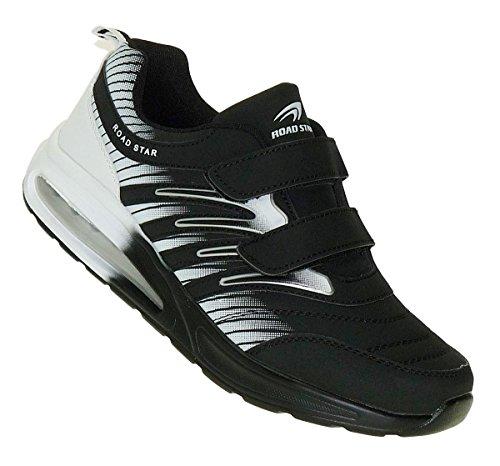 Bootsland 908 Black White Klett Turnschuhe Sneaker Sportschuhe Herren, Schuhgröße:41