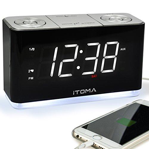 Radiowecker, FM Digitaler Wecker, funkuhr mit Nachtlicht, Dual-Alarms, Dimmer Steuerung, 1,4-Zoll große weiße LED-Anzeige, USB-Lade-Auxiliary-Eingang Backup-Batterie (CKS507)