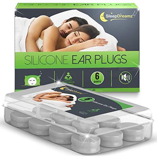 SleepDreamz® Silikon Ohrstöpsel zum Schlafen – 6 Paare geräuschunterdrückender Ohrenstöpsel – Mit diesen Ohrstöpsel Schlafen erhalten Sie Abhilfe bei Schnarchen und Schutz vor anderen Geräuschen