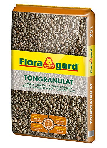 Floragard Blähton Tongranulat zur Drainage 25 L • Hydrokultursubstrat • für Pflanzkästen, Kübel oder Töpfe • Drainagematerial