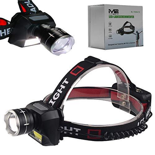 M2 Tec Profi LED Stirnlampe Kopflampe Camping Cree T6 Wasserdicht Mega Leuchtweite 2X PowerAkku Wideraufladbar Headlight