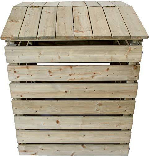 Nativ Komposter aus Holz mit Deckel, Holzkomposter aus imprägniertem Lärchenholz mit klappbarer Abdeckung, 75 x 72 x 91 cm, stabile und langlebige Qualität