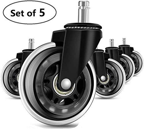 5er Set Bürostuhl Rollen im,Hartboden-Rollen,Rollerblade Style Gummi Ersatz Räder,Leicht Gleitende Bürostuhlrollen,für die meisten Drehstuhlrahmen Schwarz (10x 22mm)