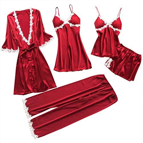 LILICAT 5PC Suit Nachtwäsche Damen Mode Dessous Unterwäsche Babydoll Nachtwäsche Kleid Rückenfrei Zweiteilige Nachthemd Schlafanzüge Negligee Wäsche Set Rückenfrei Schlafanzüge (XL, Rot)