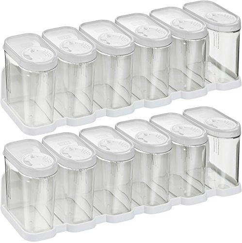 Kigima Gewürzdosen Schüttdosen Streudosen Vorratsdosen 0,25l 12er Set mit 2 Regalen weiß
